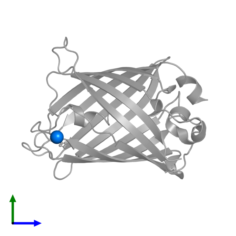 <div class='caption-body'>PDB entry 1qyf contains 1 copy of MAGNESIUM ION in assembly 1. This small molecule is highlighted and viewed from the front.</div>
