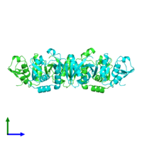 PDB 1r11 coloured by chain and viewed from the side.