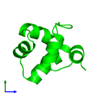 0-meric assembly 1 of PDB entry 1r63 coloured by chemically distinct molecules and viewed from the front.