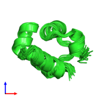 PDB 1r63 coloured by chain and viewed from the side.