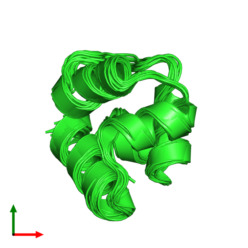 <div class='caption-body'><ul class ='image_legend_ul'>The deposited structure of PDB entry 1r63 coloured by chain and viewed from the top. The entry contains: <li class ='image_legend_li'>1 copy of Repressor protein CI</li><li class ='image_legend_li'>There are no non-polymeric molecules</li></ul></li></ul></li></div>