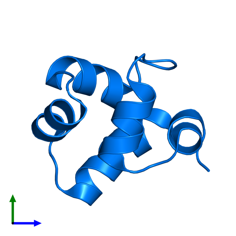<div class='caption-body'>PDB entry 1r63 contains 1 copy of Repressor protein CI in assembly 1. This protein is highlighted and viewed from the front.</div>