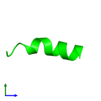 Monomeric assembly 1 of PDB entry 1r9u coloured by chemically distinct molecules and viewed from the side.