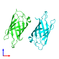 PDB 1rav coloured by chain and viewed from the front.