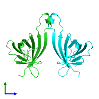 PDB 1rav coloured by chain and viewed from the side.