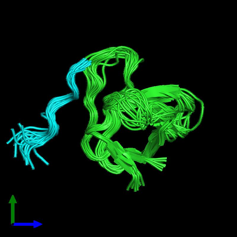 <div class='caption-body'><ul class ='image_legend_ul'>The deposited structure of PDB entry 1rlp coloured by chain and viewed from the front. The entry contains: <li class ='image_legend_li'>1 copy of C-SRC TYROSINE KINASE SH3 DOMAIN</li><li class ='image_legend_li'>1 copy of PROLINE-RICH LIGAND RLP2 (RALPPLPRY)</li><li class ='image_legend_li'>There are no non-polymeric molecules</li></ul></li></ul></li></div>