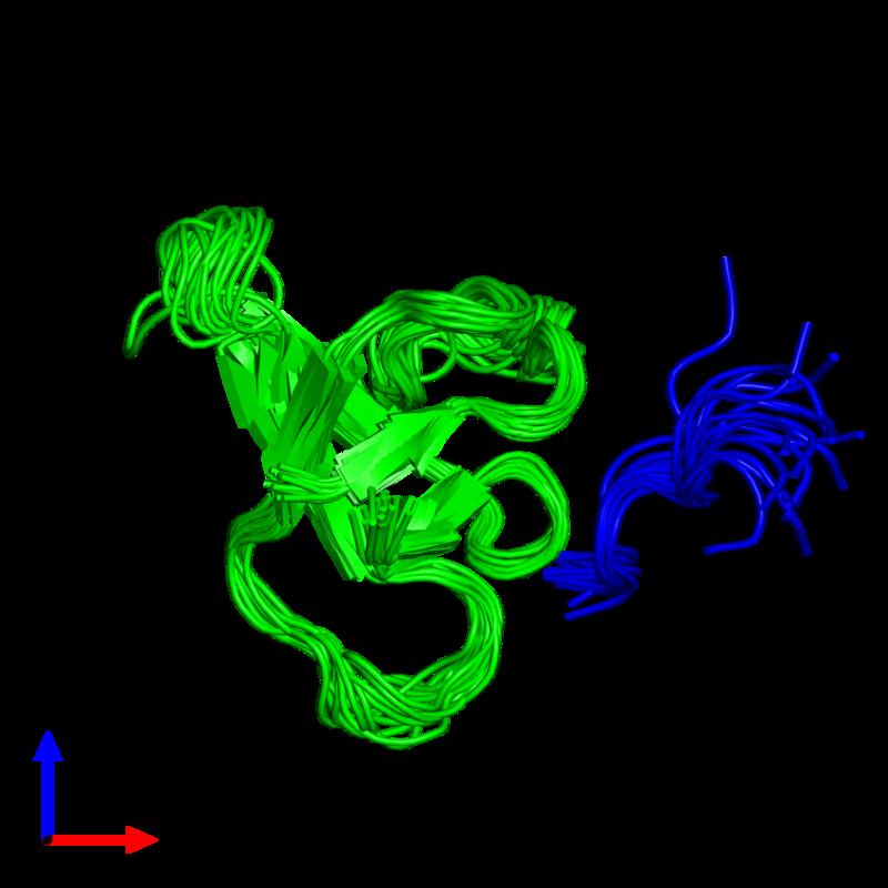 <div class='caption-body'><ul class ='image_legend_ul'>The deposited structure of PDB entry 1rlp coloured by chemically distinct molecules and viewed from the side. The entry contains: <li class ='image_legend_li'>1 copy of C-SRC TYROSINE KINASE SH3 DOMAIN</li><li class ='image_legend_li'>1 copy of PROLINE-RICH LIGAND RLP2 (RALPPLPRY)</li><li class ='image_legend_li'>There are no non-polymeric molecules</li></ul></li></ul></li></div>