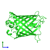 PDB 1rmp coloured by chain and viewed from the front.