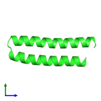 PDB 1rop coloured by chain and viewed from the front.