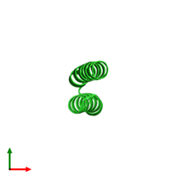 PDB 1rop coloured by chain and viewed from the top.