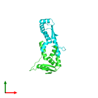 PDB 1rqu coloured by chain and viewed from the top.