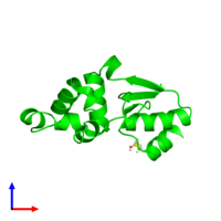 Monomeric assembly 1 of PDB entry 1rw1 coloured by chemically distinct molecules and viewed from the side.