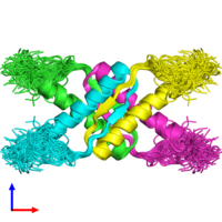 PDB 1saf coloured by chain and viewed from the side.