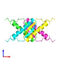 PDB 1sak coloured by chain and viewed from the side.