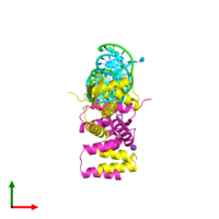 PDB 1sax coloured by chain and viewed from the top.