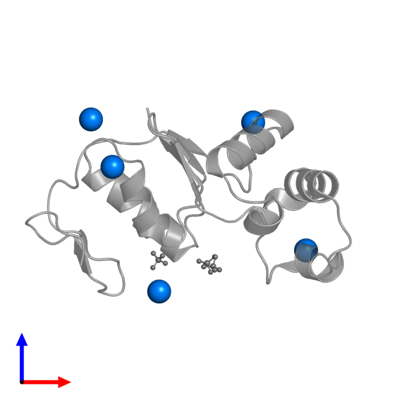 <div class='caption-body'>PDB entry 1sd8 contains 5 copies of CESIUM ION in assembly 1. This small molecule is highlighted and viewed from the front.</div>