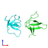 PDB 1shf coloured by chain and viewed from the front.