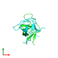 PDB 1shf coloured by chain and viewed from the top.