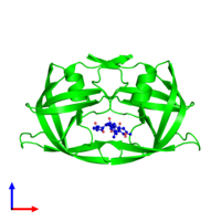 Dimeric assembly 1 of PDB entry 1siv coloured by chemically distinct molecules and viewed from the front.