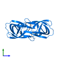 PDB 1siv contains 2 copies of Protease in assembly 1. This protein is highlighted and viewed from the side.