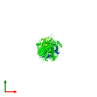 Trimeric assembly 1 of PDB entry 1sr6 coloured by chemically distinct molecules and viewed from the top.