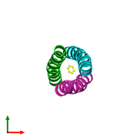 PDB 1swi coloured by chain and viewed from the top.