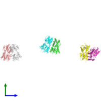 PDB 1sxg coloured by chain and viewed from the front.