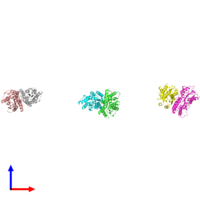 PDB 1sxg coloured by chain and viewed from the side.
