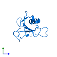PDB 1t2i contains 1 copy of Guanyl-specific ribonuclease Sa in assembly 1. This protein is highlighted and viewed from the front.