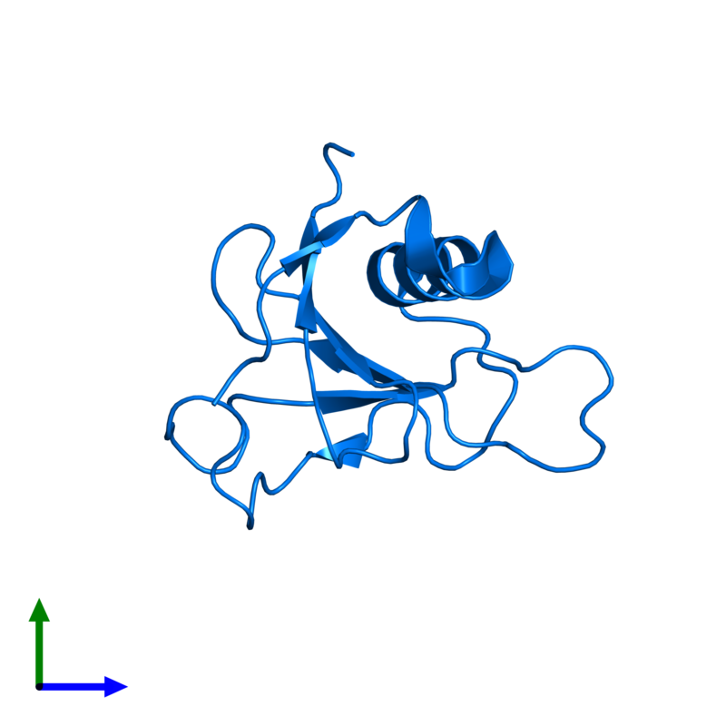 <div class='caption-body'>PDB entry 1t2i contains 1 copy of Guanyl-specific ribonuclease Sa in assembly 1. This protein is highlighted and viewed from the front.</div>