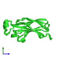 PDB 1tey coloured by chain and viewed from the front.