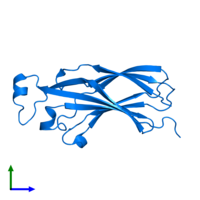 PDB 1tey contains 1 copy of Histone chaperone ASF1A in assembly 1. This protein is highlighted and viewed from the front.
