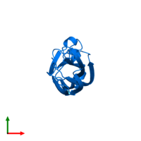 PDB 1tey contains 1 copy of Histone chaperone ASF1A in assembly 1. This protein is highlighted and viewed from the top.