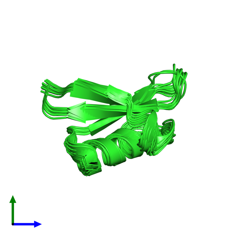 <div class='caption-body'><ul class ='image_legend_ul'>The deposited structure of PDB entry 1ti5 coloured by chain and viewed from the front. The entry contains: <li class ='image_legend_li'>1 copy of Plant defensin</li><li class ='image_legend_li'>There are no non-polymeric molecules</li></ul></li></ul></li></div>