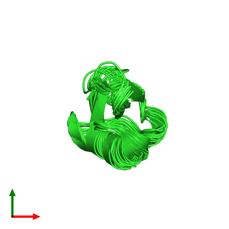 <div class='caption-body'><ul class ='image_legend_ul'>The deposited structure of PDB entry 1ti5 coloured by chain and viewed from the top. The entry contains: <li class ='image_legend_li'>1 copy of Plant defensin</li><li class ='image_legend_li'>There are no non-polymeric molecules</li></ul></li></ul></li></div>