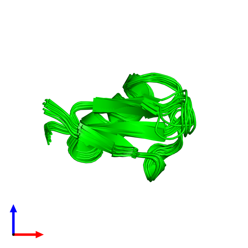 <div class='caption-body'><ul class ='image_legend_ul'>The deposited structure of PDB entry 1ti5 coloured by chemically distinct molecules and viewed from the side. The entry contains: <li class ='image_legend_li'>1 copy of Plant defensin</li><li class ='image_legend_li'>There are no non-polymeric molecules</li></ul></li></ul></li></div>