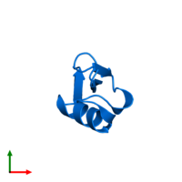 PDB 1ti5 contains 1 copy of Plant defensin in assembly 1. This protein is highlighted and viewed from the top.