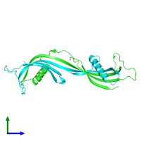 PDB 1tij coloured by chain and viewed from the side.