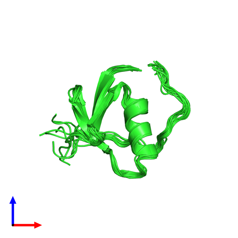 <div class='caption-body'><ul class ='image_legend_ul'>The deposited structure of PDB entry 1tus coloured by chain and viewed from the front. The entry contains: <li class ='image_legend_li'>1 copy of Ovomucoid</li><li class ='image_legend_li'>There are no non-polymeric molecules</li></ul></li></ul></li></div>