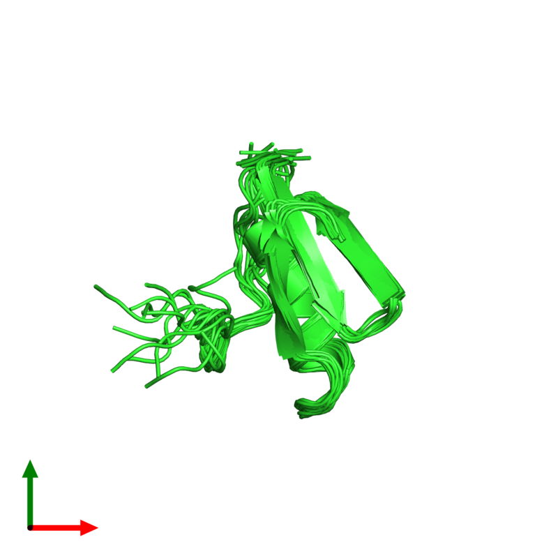 <div class='caption-body'><ul class ='image_legend_ul'>The deposited structure of PDB entry 1tus coloured by chain and viewed from the top. The entry contains: <li class ='image_legend_li'>1 copy of Ovomucoid</li><li class ='image_legend_li'>There are no non-polymeric molecules</li></ul></li></ul></li></div>