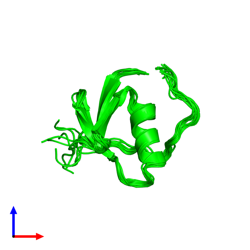 <div class='caption-body'><ul class ='image_legend_ul'>The deposited structure of PDB entry 1tus coloured by chemically distinct molecules and viewed from the front. The entry contains: <li class ='image_legend_li'>1 copy of Ovomucoid</li><li class ='image_legend_li'>There are no non-polymeric molecules</li></ul></li></ul></li></div>