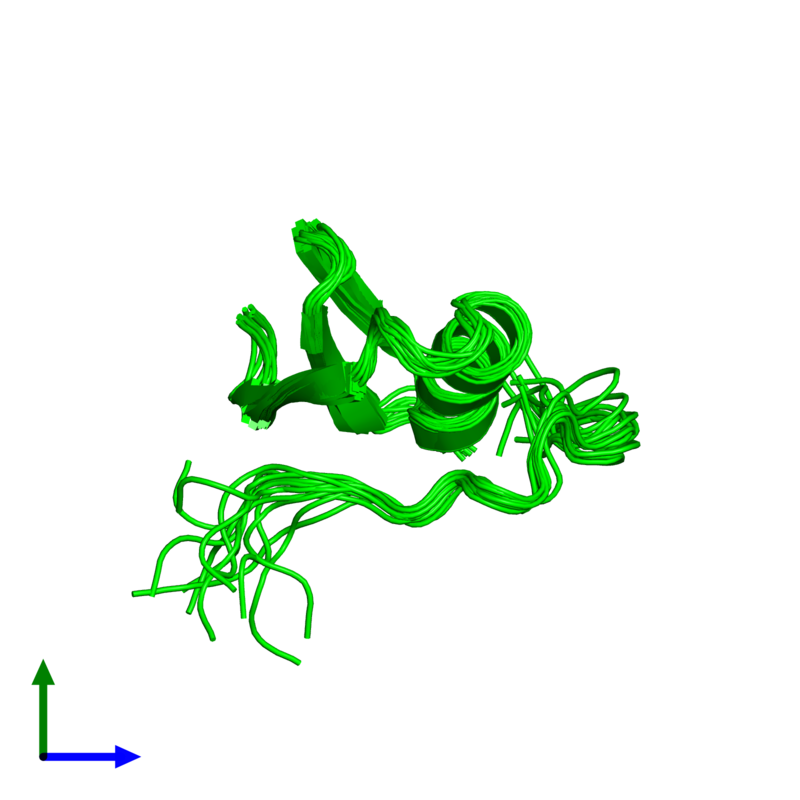 <div class='caption-body'><ul class ='image_legend_ul'>The deposited structure of PDB entry 1tus coloured by chemically distinct molecules and viewed from the side. The entry contains: <li class ='image_legend_li'>1 copy of Ovomucoid</li><li class ='image_legend_li'>There are no non-polymeric molecules</li></ul></li></ul></li></div>