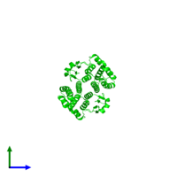 Dimeric assembly 1 of PDB entry 1tw9 coloured by chemically distinct molecules and viewed from the front.