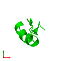 0-meric assembly 1 of PDB entry 1txm coloured by chemically distinct molecules and viewed from the top.