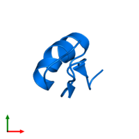 PDB 1txm contains 1 copy of Potassium channel toxin alpha-KTx 6.2 in assembly 1. This protein is highlighted and viewed from the top.