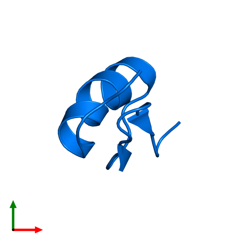 <div class='caption-body'>PDB entry 1txm contains 1 copy of Potassium channel toxin alpha-KTx 6.2 in assembly 1. This protein is highlighted and viewed from the top.</div>