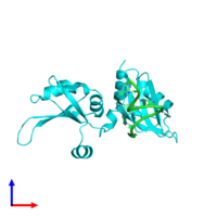 PDB 1u1n coloured by chain and viewed from the side.