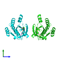 PDB 1u8z coloured by chain and viewed from the side.