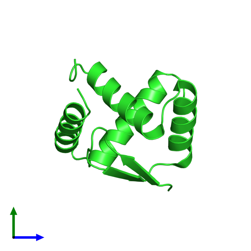 <div class='caption-body'><ul class ='image_legend_ul'> Monomeric assembly 1 of PDB entry 1u9p coloured by chain and viewed from the front. This assembly contains:<li class ='image_legend_li'>One copy of pArc</li></ul></div>