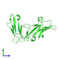 PDB 1uct coloured by chain and viewed from the front.